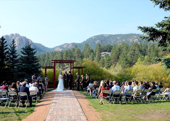 Wedding Ceremony at Lower Lake Ranch in Pine Colorado